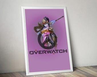 Overwatch WIDOWMAKER Poster, Game Poster, Flat Print Design, Digital Printable Poster, Blizzard wall art, Instant Download, game art