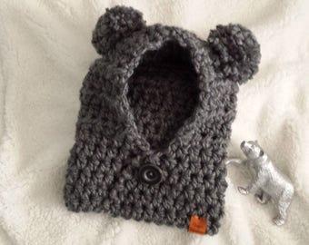 FRANKIE baby bear cub cowl hood
