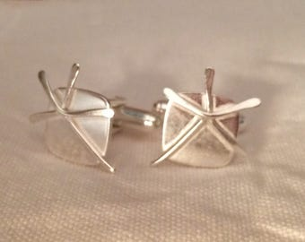 Sterling silver cufflinks Orkney Cow parsley design