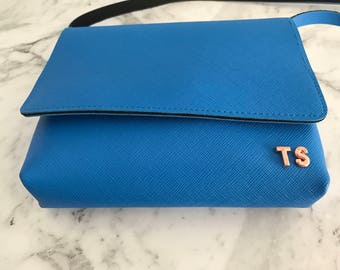 Personalised Monogram Leather Crossbody Bag, Handmade in Blue