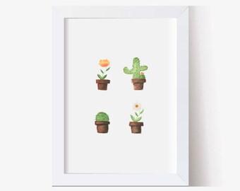 Watercolor Painting, Watercolor Art Print, Succulent Picture, Succulent Art, Potted Cactus, Cactus Art Print, Wall Decor (5x7, 8x10, 11x14)