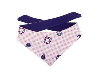 Nautical Sailor Bandana, Pet Bandana, Dog Bandana, Cat Bandana, Dual sided