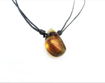 amber necklace / yellow stone with dark stripes / drop shaped / mexican amber
