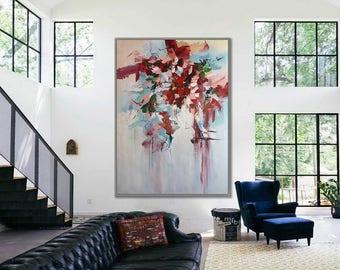 "Wall Decor Art Painting Extra Large Abstract Wall Art Home Decor Modern Art White Red Modern Art 40x60"" / 100x150cm"