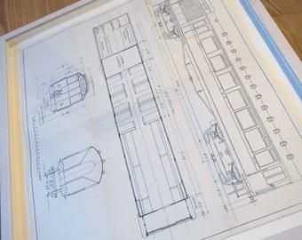 Vintage Blueprint I - Beautiful Antique Train Plans - Framed