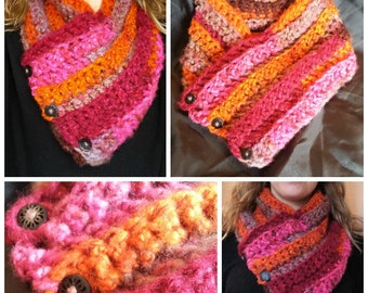 Calendula colored cowl scarf with buttons