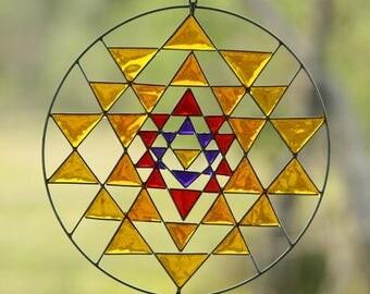 Sri yantra decoration boho style mandala sacred geometry hanging