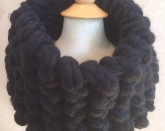 Thick wool hand-knit cowl in black