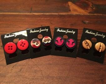 Earrings, buttons