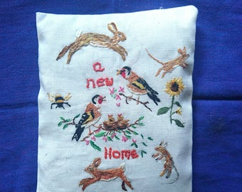 Handmade Embroidered Lavender Sachet/Pouch/Bag- New Home