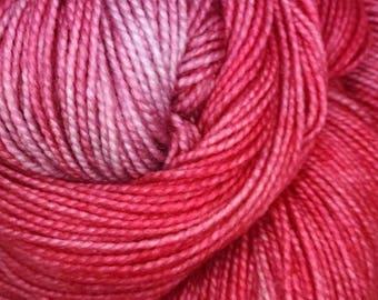 Hand dyed Yarn Superwash Wool; 100 grams / 357 yards Finger Weight Yarn; Variegated Sock Yarn~ Cheerwine