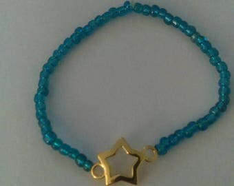 Blue gold star stretch bracelet