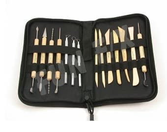 14 Piece Deluxe Clay Tool Set in Canvas Case - Sculpting, Pottery, Jewelry