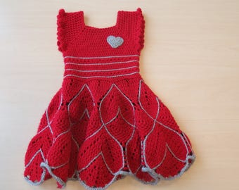 Red dress with silver prinsesjes-crochet-3-4 years-girl