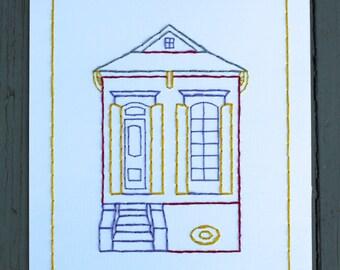 New Orleans Shotgun House Hand Stitched Art