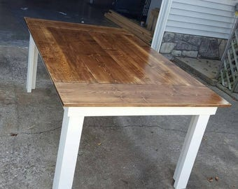 Farmhouse Kitchen Table With Bench Included | Dining Room Table | Modern Rustic  Table | Rustic