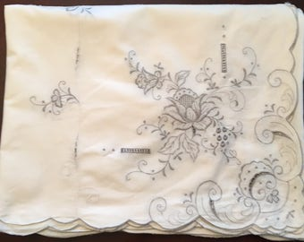"Beautiful Formal Vintage Table Cloth with Cutwork and Embroidery 82"" x 64"""