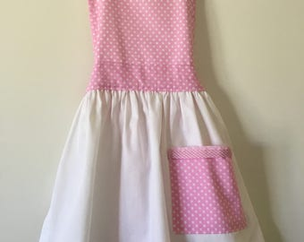 Girls Apron in Pink and White with Pocket