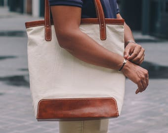 Leather Canvas Tote Bag // Tote Bag // Leather Bag //