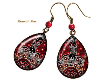 Drops earrings cabochon Spirit bronze Aboriginal art