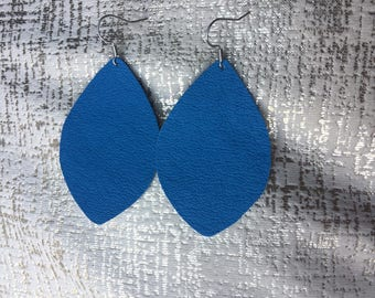 Electric Blue leather earrings