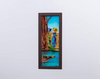 """Painting """"Meeting at the marigot"""" coaster"""