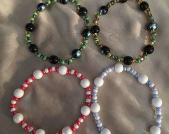 Four stretchy bracelets