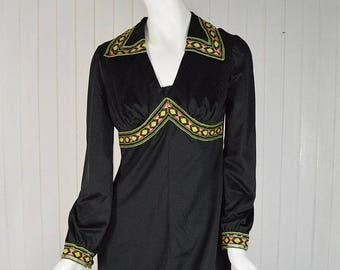 Embroidered dress, dress vintage,  dress with embroidery,  black dress, vintage unigue