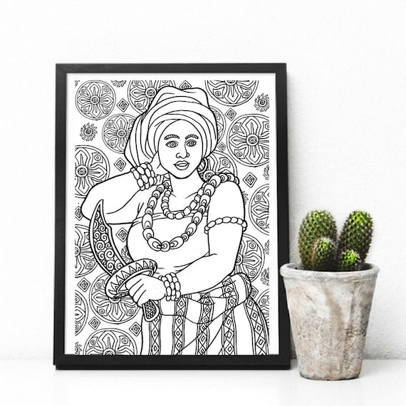 African Goddess Adult Colouring Page Printable Coloring Pages