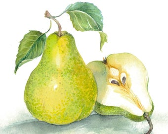 Printable Watercolour Art, Digital Download, Wall Art, Kitchen Art, Home Decor, Fruits Art, Pear