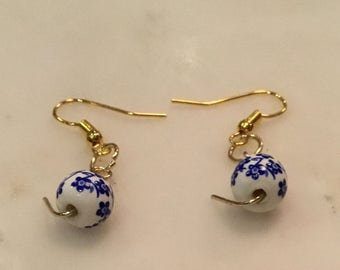 Blue and White Statement Earrings