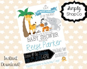Jungle animal baby shower invitation, safari, invite, printable, print, DIY instant download, editable baby shower template, blue, baby boy.