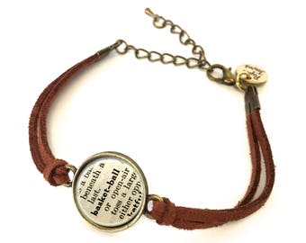 Basketball Dictionary Bracelet - Made from a vintage dictionary. Birthday Gift, Graduation Gift, Unique Gift, Gift for Her, Boho Chic