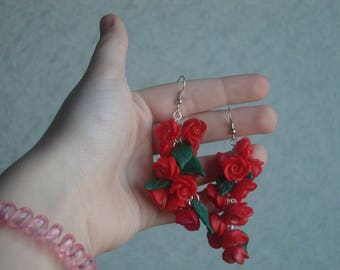 Earrings with roses made of polymer clay