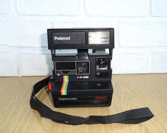80s Polaroid SUPERCOLOR 635CL Instant Camera Close UP 636 Vintage Retro Camera Black Body Rainbow Stripe Retro Rainbow Type Super Color