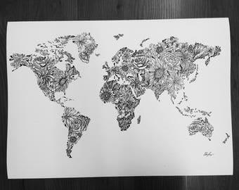Floral World Map- Black & White
