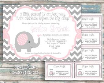 Elephant Baby Shower Invitation - Little Peanut - Printable Invitation