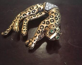 Vintage Florenza leopard brooch