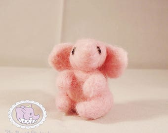Tiny Pink Needle Felted Elephant