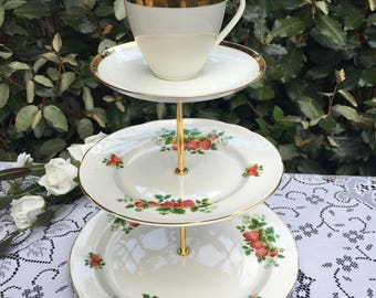 Cake Stand. Strawberry theme vintage 3 tier plate stand. mismatch bone china. Wedding. Mad Hatter. party.  cream tea.