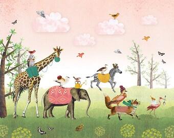 Wallpaper Animal Parade - Kids Wall Mural - Pink