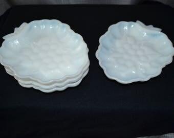 Set of 4 Milk Glass Snack plates
