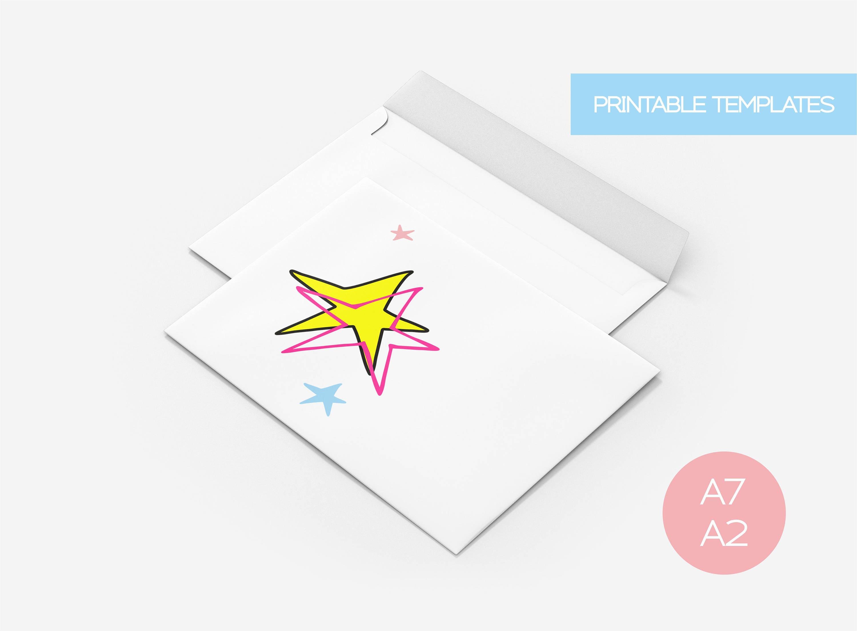 Cute Stars Graphic Envelope Template, wedding invitation greeting ...
