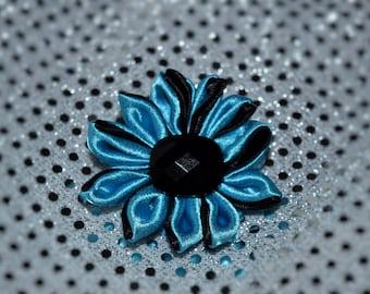 Blue/Black Flower Pet Harness-Collar Accessory