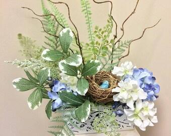 Bird Nest Arrangement, Artificial Flower Arrangement, Blue Flower Arrangement, Nature, Bird Nest, Blue and White Arrangement