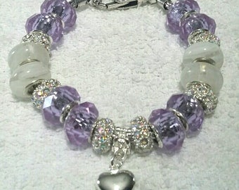 "European Style Murano 7.9"" Silver Heart Charm Bracelet"
