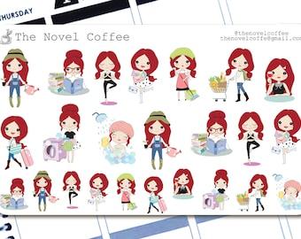 Planner Stickers Doodle Girl Variety - Erin Condren Life Planners - NC4