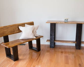 Rustic Live edge bench, shelves and entry tables