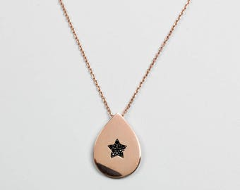 Silver Pendant on Rose Gold Chain