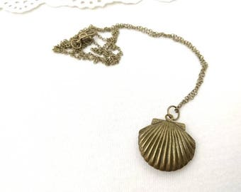 Brass shell locket, antique necklace